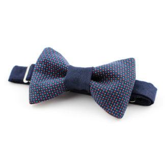 Noeud papillon à micro motifs géométriques bleu et rouge made in france, fait avec amour