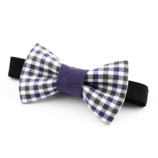 Noeud papillon à carreaux violet made in france, fait avec amour