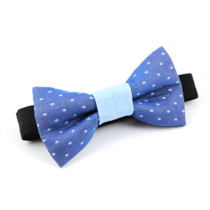 Noeud papillon à motifs pois bleu jacquard