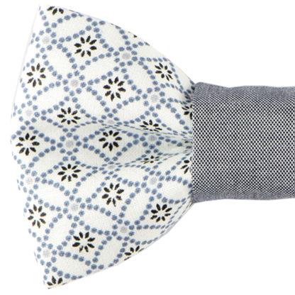 Noeud papillon à motifs géométriques gris clair et bleu chambray made in france, fait avec amour
