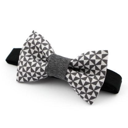 Noeud papillon à motifs géométriques gris made in france, fait avec amour
